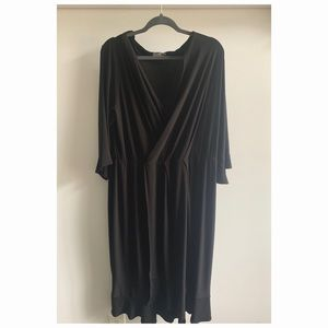 ASOS black midi stretchy dress 3/4 sleeve size 18